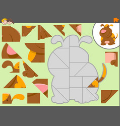 Jigsaw puzzle activity with dog vector