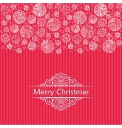 Merry christmas balls doodle pattern of line icons vector image vector image
