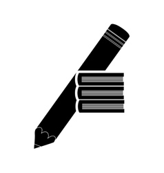 Pencil and book stack icon vector