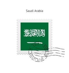 Saudi arabia flag postage stamp vector