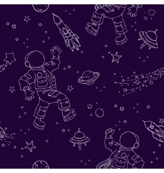 Seamless pattern with astronauts UFOs planets vector image vector image