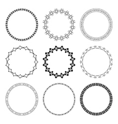 set of black round frames with ornament vector image