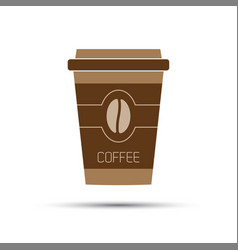 simple icon paper cup of coffee with coffee bean vector image