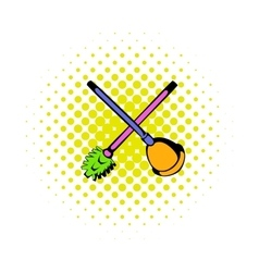 Toilet plunger and brush icon comics style vector