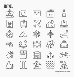 travel and vacation related thin line icons vector image