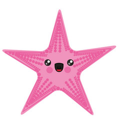 white background with cartoon pink starfish vector image