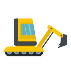 Yellow mini excavator icon isolated vector