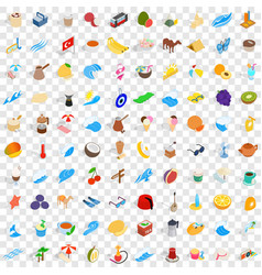 100 turkey icons set isometric 3d style vector image vector image