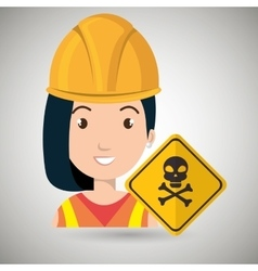 Woman worker symbol danger vector