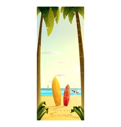 Sunny summer beach surfing 2d vector