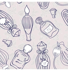 Hand drawn perfume fragrances bottles vector