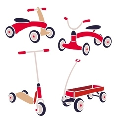 Vintage kids toys bicycle kick scooter red wagon vector