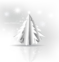 Christmas background with paper christmas tree vector