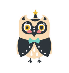 Cute cartoon owl bird in smart clothes and a hat vector
