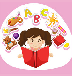 Girl reading book alone vector