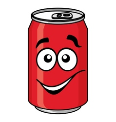Red cartoon soda or soft drink can vector