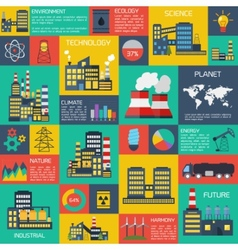 Modern industrial flat infographic background vector