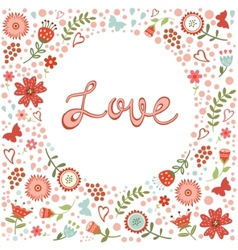 Concept love card with floral heart and vector