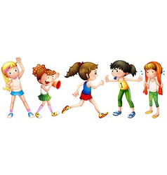 Girls and exercise vector