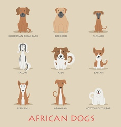 Set of african dogs vector