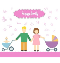 Father and mom with baby in stroller Young father vector image