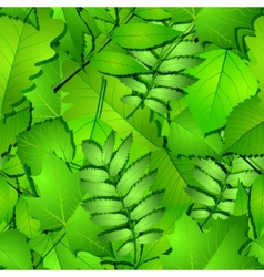 Seamless with green spring leaves vector image