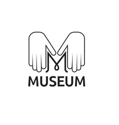 Museum monogram with hands vector