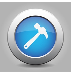 Blue metal button with claw hammer vector