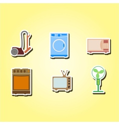 Color icons with home technics vector