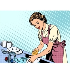 Woman washing dishes housewife housework comfort vector image