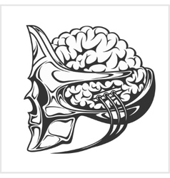 Robotic alien with a big brain in skull helmet vector