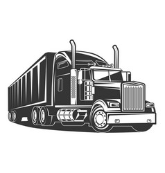 american truck trailer black and white vector image vector image