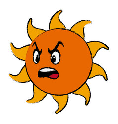 Angry sun cartoon mascot character vector