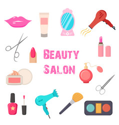 Beauty salon set of flat cartoon icons business vector