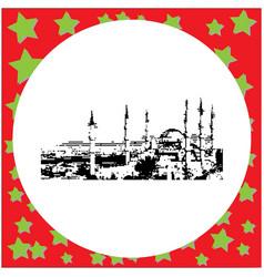 black 8-bit the blue mosque sultanahmet camii vector image vector image