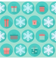 Christmas flat seamless pattern with gifts vector image
