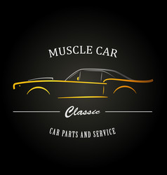 Classic muscle car silhouette vehicle silhouette vector