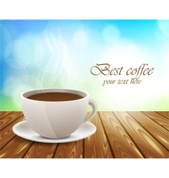 Coffee cup on wooden table vector image vector image