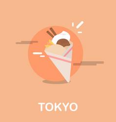 delicious ice cream dessert tokyo design vector image vector image