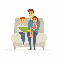 Father reads a fairytale - cartoon people vector
