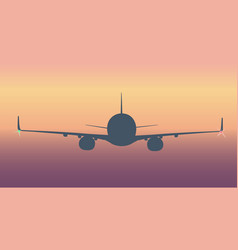 Flying airliner silhouette vector