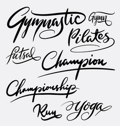 Gymnastic and pilates hand written typography vector