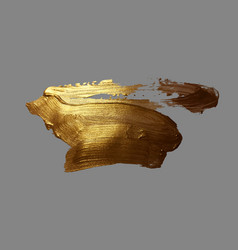 Hand drawing gold brush stroke paint spot vector