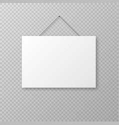 horizontal realistic hanging paper sheet vector image