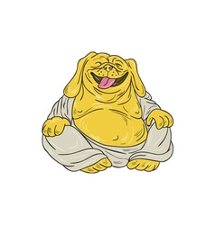 Laughing bulldog buddha sitting cartoon vector