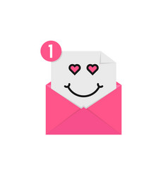 Love emoji in pink letter notification vector