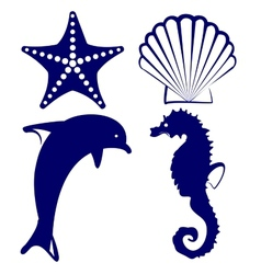 marine animals icon set vector image vector image
