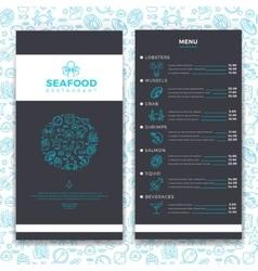 Modern seafood restaurant cafe brochure menu vector