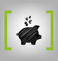 piggy bank sign with the currencies black vector image