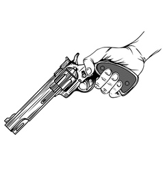 revolver in hand vector image vector image